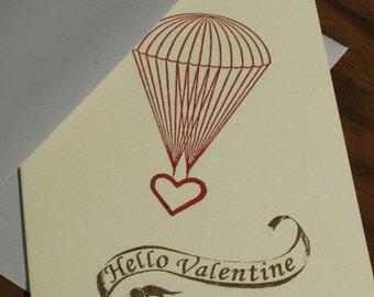 Hello Valentine - Parachute Heart Valentine's Day Card