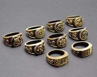 Naruto cosplay ring | Tobi Mangekyō | Sharingan | Akatsuki | Ninja | Shinobi | Rinnegan | Leaf Village Emblem | costume prop replica