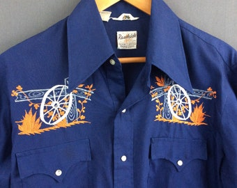 Vintage Western Pearl Snap Shirt Embroidered Western Snap Shirt M L