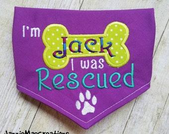Embroidered I Was Rescued Dog Bandana - Dog Rescue Scarf - Adopted Dog Bandana - I Was Rescued Dog Neckwear