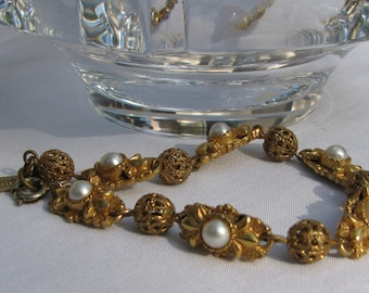 Ornate and Detailed FLORENZA Tagged Bracelet, Gold Cage Beads with Pearls, Art Nouveau