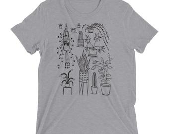 Houseplants - Unisex Tri Blend - XS, S, M, L, XL, 2X, 3X - plants, home, cacti, cactus, jungle