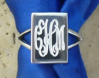 Personalized Sterling Silver Engraved Monogram Ring 08038