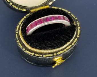 1920s Deco Platinum Natural Ruby Eternity Band