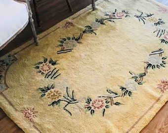 Yellow Floral Hand-Hooked Rug