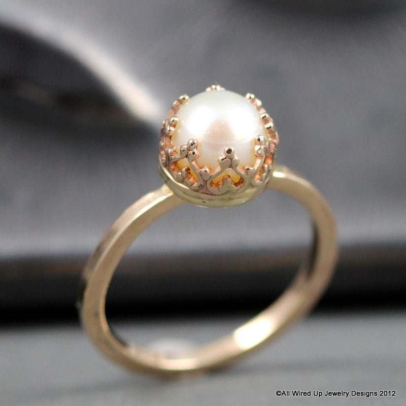 dawanda halo engagement rings jewellery by on pearl product ring gold unique arpelc in a