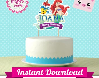 Cake Topper Ariel The Little mermaid DIY Editable Text PowerPoint English and Spanish