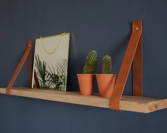 Learn shelf supports-Cognac with Mango wood shelf