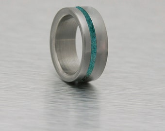 Titanium Ring turquoise ring man ring mens wedding band turquoise mens ring