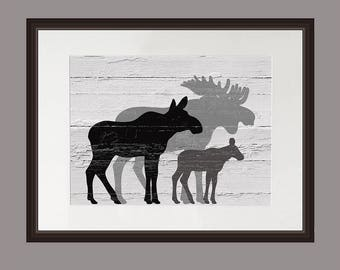 Gray Moose Wall Art, Gray Moose Family Art Print, Distressed Wood, Cabin Decor, Lodge Art Print, Rustic Moose Family Print, Barnwood print