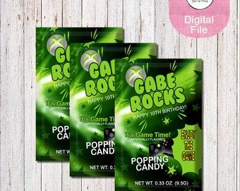 XBox Inspired Pop Rocks Wrapper-XBox Candy Wrapper-Custom Pop Rocks Wrapper-Video Game Party