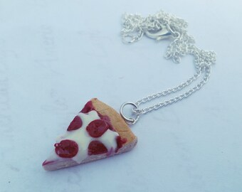 Pepperoni Pizza Necklace, Polymer Clay Jewelry