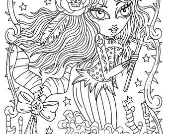 5 Pages Gothic Mermaids Digital Coloring Pages set of 5, digi stamps, digital coloring book Gothic Mermaids, cardmaking, crafts