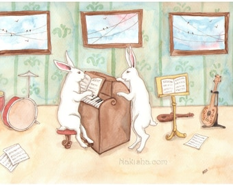 Our Music Room - Fine Art Print - Rabbits playing the Piano and Singing