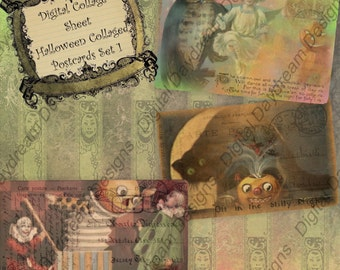 Collaged Halloween Postcards Set 2 Digital Download