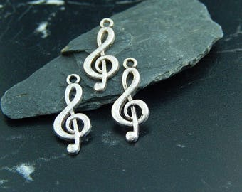 5 pendants charms silver music note