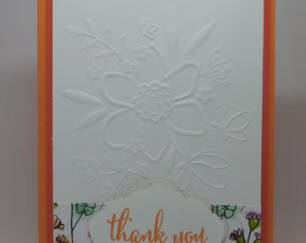 Embossed Flower Thank You Card