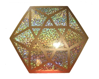 Cuboctahedron sparkle gold 2 colours