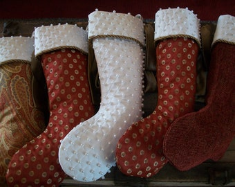 Five (5) Amazing Brick Red White and Paisley Luxurious Designer Christmas Stockings 2018 Collection