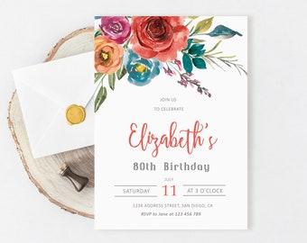 80th Birthday Invitation, Birthday Invitation women, Floral birthday invitation for women, 50th, 60th, 70th, 90th, Printable birthday invite