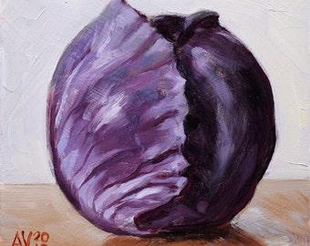 Original Framed Oil Painting Still Life, Purple Cabbage by Aleksey Vaynshteyn