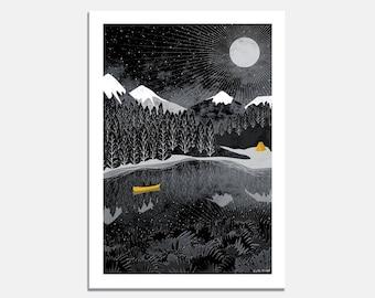 Night Paddle Art Print / wallart / grey / yellow / canoe / camping / tent / stars / night sky / moon / adventure / landscape / romantic