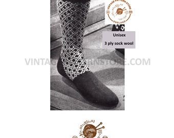 Mans fair isle diamond patterned socks - Vintage PDF Knitting Pattern 1110