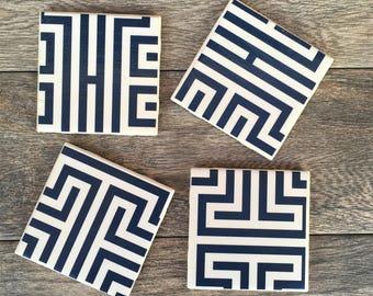 Blue and White Greek Key Pattern Ceramic Coasters