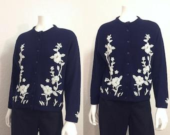 Vintage Cardigan / Beaded Cardigan / 1950s Cardigan / 50s Cardigan / Beaded Sweater / Blue Sweater / Floral Cardigan / Small Cardigan