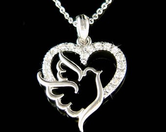 Dainty Swarovski Crystal Love Heart Peace Dove Pigeon Free Bird Pendant Charm Chain Necklace Jewelry Best Friend Gift New