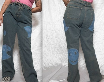 hippy dippy 90s does 70s patchwork flares size 36''