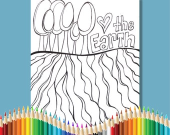 Coloring Pages for Adults Love the Earth Instant Download