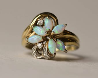 Opal Ring, Sterling Silver and Vermeil Opal Ring, Vintage, Size 8, October Birthstone