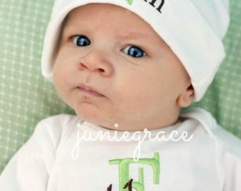 Baby Boy Coming Home Outfit Monogrammed Baby Boy Clothes Baby Boy Gift Personalized Take Home Outfit Newborn Outfit  Baby Hat