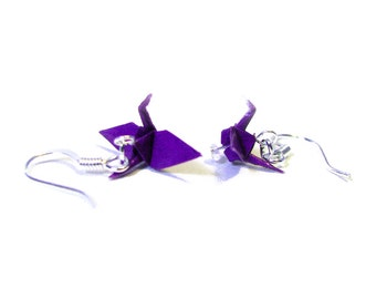 "Origami Paper Crane earrings 3/4""   - Dark Purple Paper Crane Earrings Solid Color"