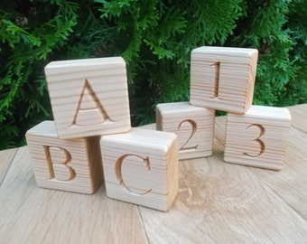 Wooden blocks with letters and numbers, 2 in 1 wooden blocks, Blocks with letters, Blocks alphabet, ABC, handmade, engraved wooden blocks