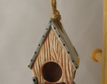 Birdhouse with Tin Roof Ceramic Ornament