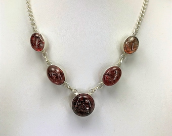 A Beautiful Sterling Silver and Red Glass Necklace