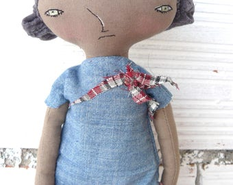 Art doll with fabric hair. Embroidered face. 32 cm. Black doll