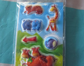 set of 4 animal d´autocollants with 5 pages