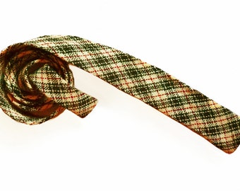 NOW 25% off! Vintage Apache Hand Loomed Wool Necktie, Red & Black Plaid