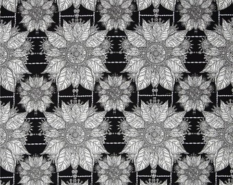 Free Spirit Byzantium Byzantine Black White Floral Fabric by the yard  PWKM010-BLK