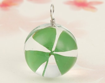 Real Four Leaf Clover Shamrock in Glass Pendant Charm - Clip-On - Ready to Wear