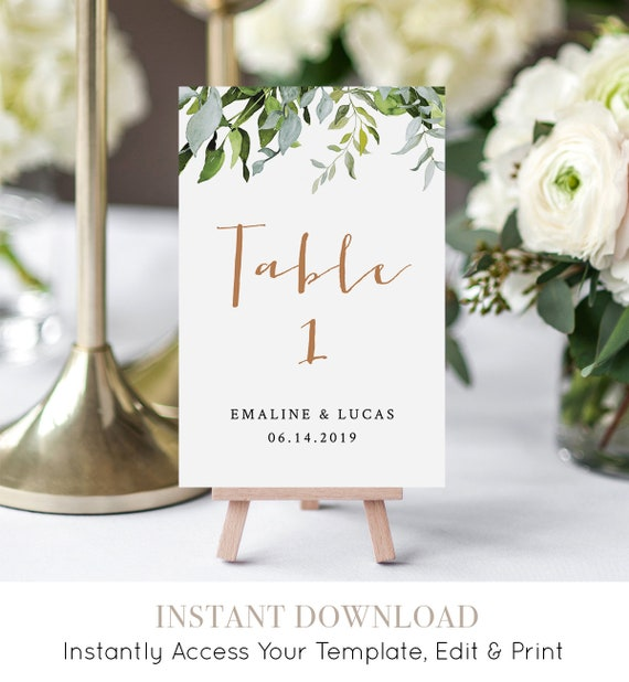 Greenery Wedding Table Number Card, Printable Table Card, Flat & Folded, INSTANT DOWNLOAD, Editable Template, Boho Wedding  #016-118TC