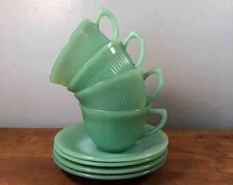1940s Fire King Jadeite Jane Ray Cup and Saucer set of FOUR