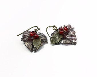 Hand Painted Lucite Leaf Earrings with 3 Red Glass Berries, Bronze Purple Brass Fall Autumn Earrings, Gifts for Her