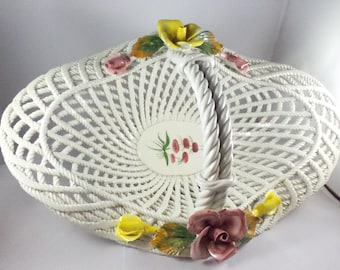 Hand Painted Bassano White Rope Weave Basket With Flowers
