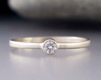 White Gold Diamond Ring - Thin Engagement Ring with a 3mm Diamond in solid 14k white or yellow gold
