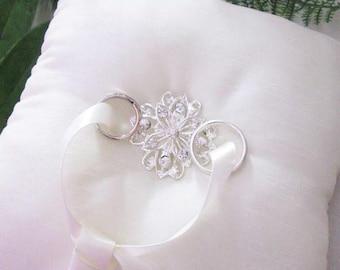 Wedding Ring Cushion, Ring Bearer Pillow, Wedding Pillow, Wedding Ring Pillow, Silk Ring Cushion, Diamante Brooch, Ribbon Embellishment