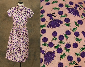 vintage 40s Linen Dress - 1940s Pink and Purple Novelty Print Dress - Maiden and Flower Print Dress Sz XS
